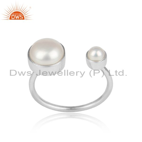 Designer Stackable Dainty Sterling Silver 925 Ring with Pearl
