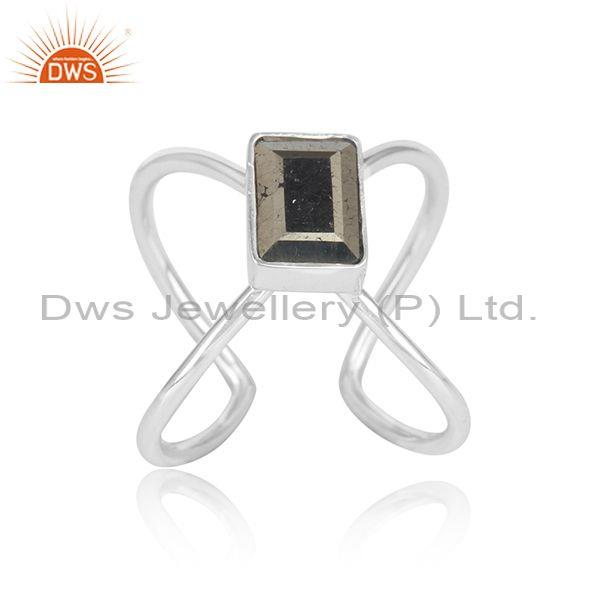 Designer shank handmade fine silver 925 ring with pyrite