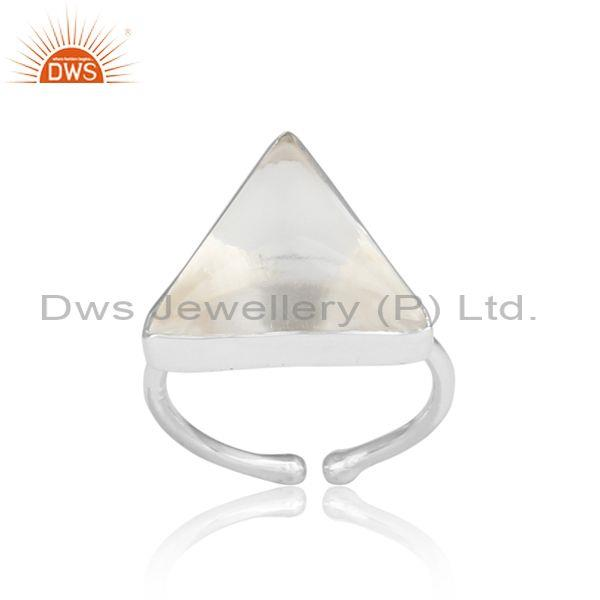 Triangle Cut Crystal Quartz Set Fine 925 Silver Ring
