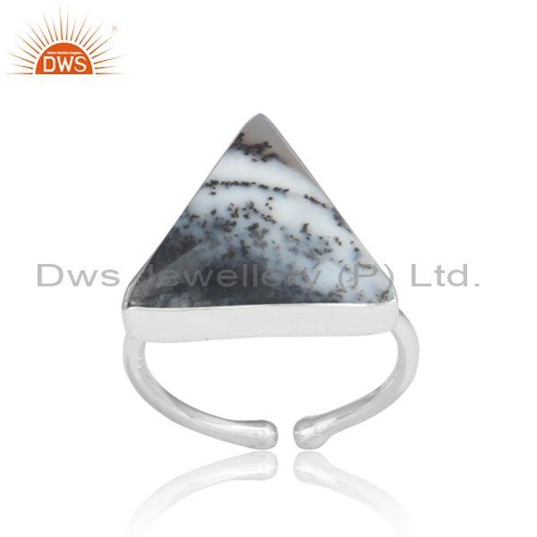Triangle Cut Dendrite Set Fine 925 Silver Ring