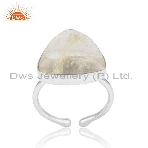 Golden Rutile Set Fine 925 Silver Handmade Ring