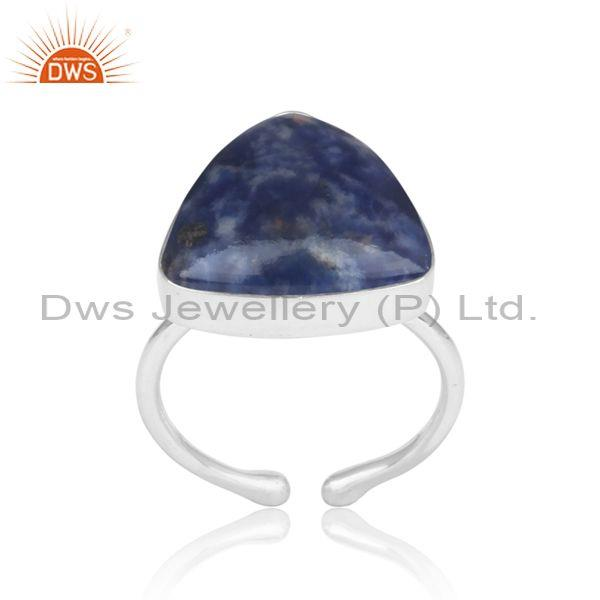 Triangular Sodalite Set Fine Silver Handmade Ring