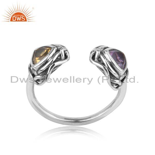 Handtextured oxidized silver ring with amethyst, citrine