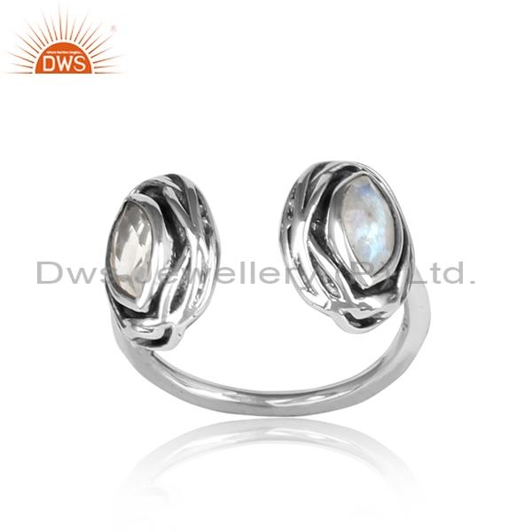 Crystal Quartz & Raibod Moonstone Adjustable Silver Ring