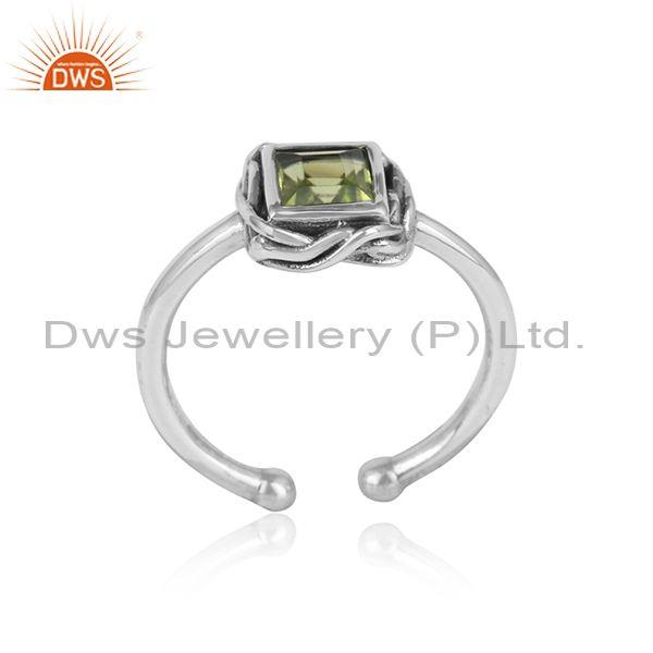 Handcrafted Adjustable Oxidized Silver 925 Ring with Peridot
