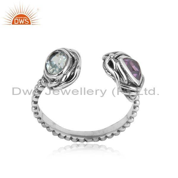 Handtextured Oxidized Silver Ring with Amethyst, Blue Topaz
