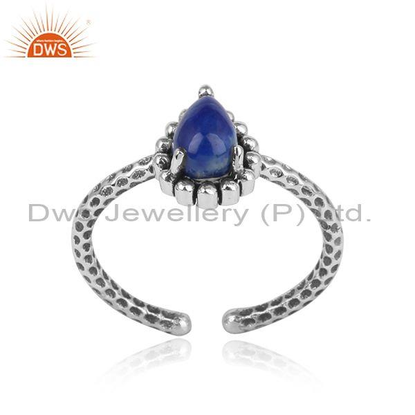 Oxidized Silver 925 Hammer Textured Ring with Lapis