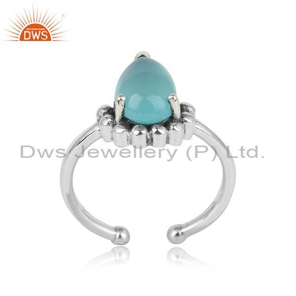 Designer Dainty Sterling Silver Sleek Ring with Aqua Chalcedony