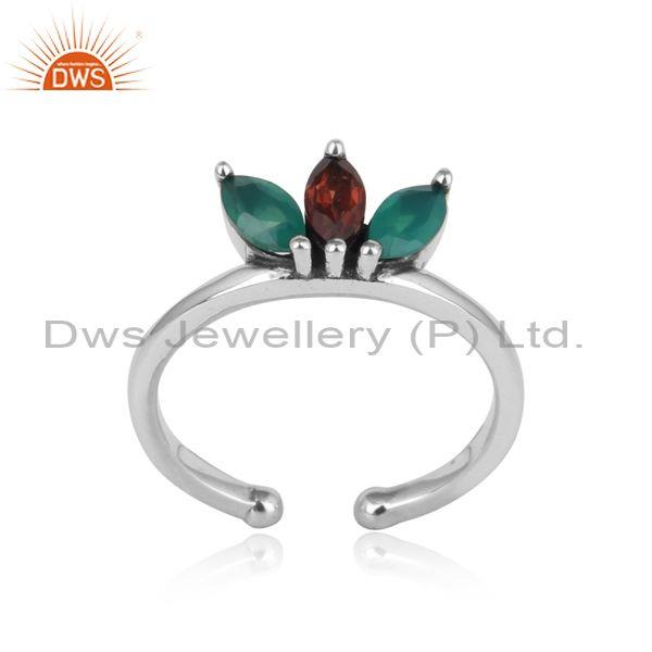Designer Dainty Silver Ring with Garnet and Green Onyx