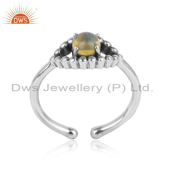 Designer Handmade Oxidized Silver 925 Ring with Ethiopian Opal