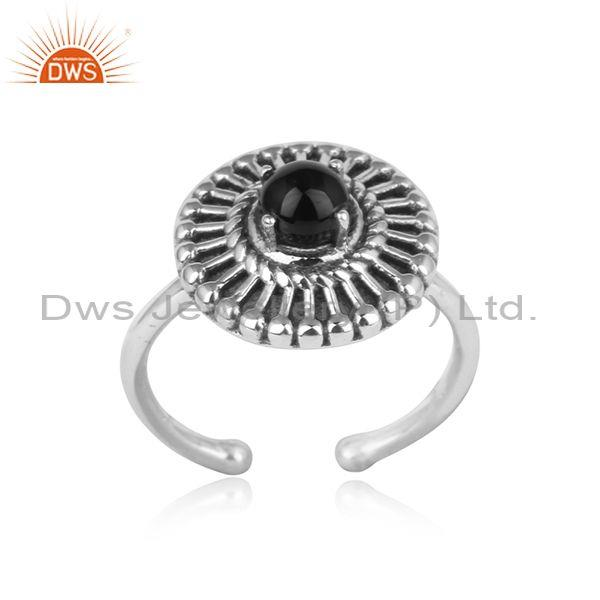 Textured Bold Designer Oxidized Silver 925 Ring With Black Onyx