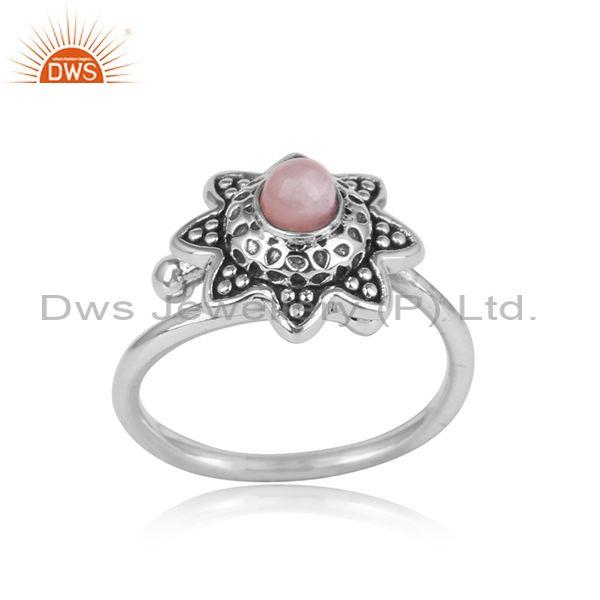 Floral designer oxidisez silver 925 ring with pink opal