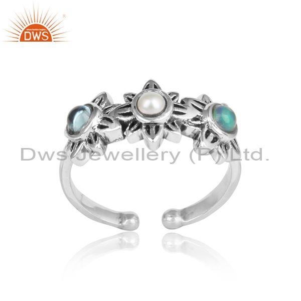 Handmade Floral Oxidized Silver Pearl, Ethiopian Opal, Blue Topaz Ring