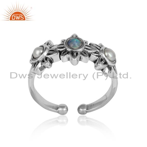 Floral Ethiopian Opal & Pearl Studded 925 Silver Ring
