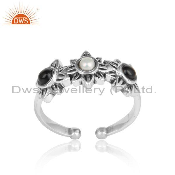 Handmade Floral Design Oxidized Silver Pearl, Black Onyx Ring