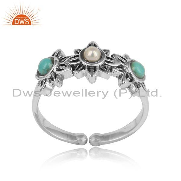 Designer Oxidized on Silver Ring with Arizona Turquoise Pearl