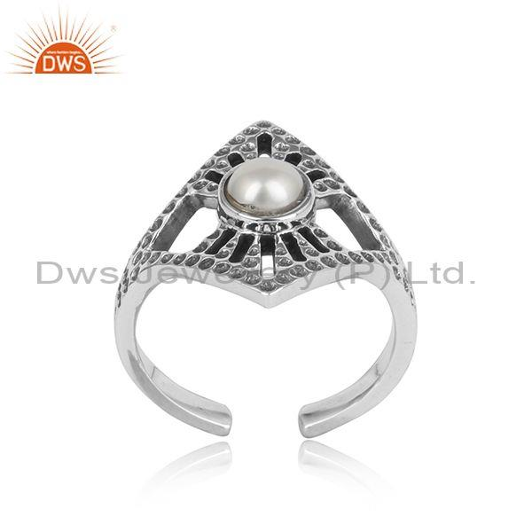 Textured design adjustable oxidized silver ring with pearl