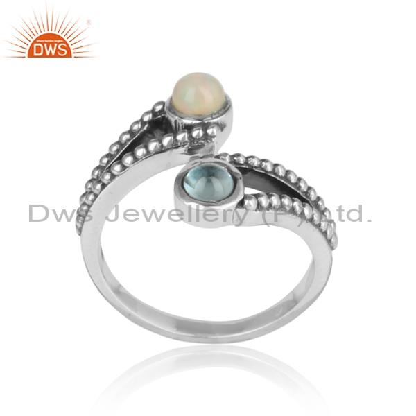 Dual Ethiopian Opal & Blue Topaz Cabushion Silver Ring