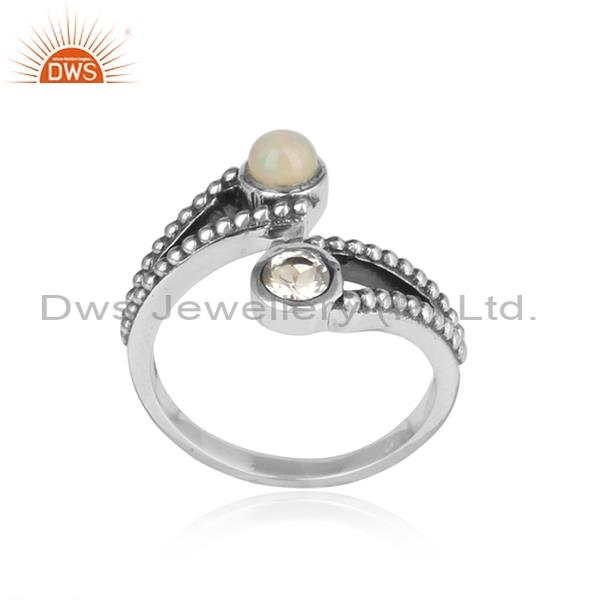 Ethiopian Opal & Crystal Quartz Sterling Silver Ring