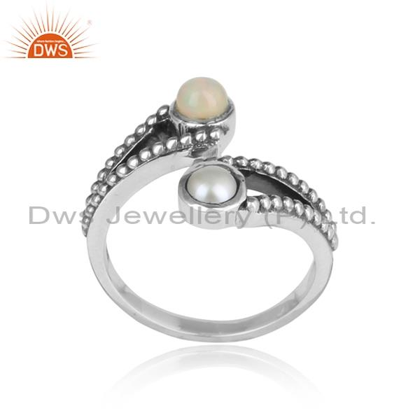 Ethiopian opal and pearl cabushion sterling silver ring