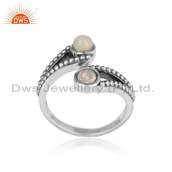 Rainbow Moonstone & Ethiopian Opal Entwined 925 Silver Ring