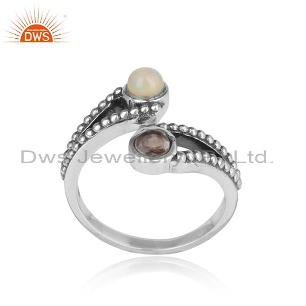 Ethiopian Opal & Smoky Quartz Set In A Entwined Silver Ring