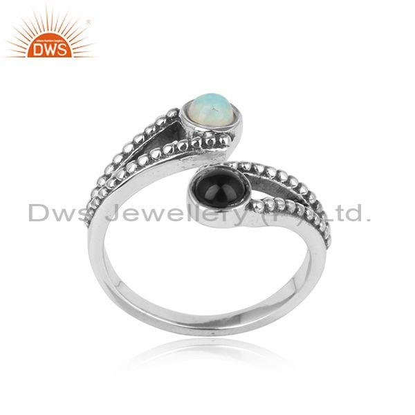 Oxidized Silver Bypass Ring with Black Onyx Ethiopian Opal