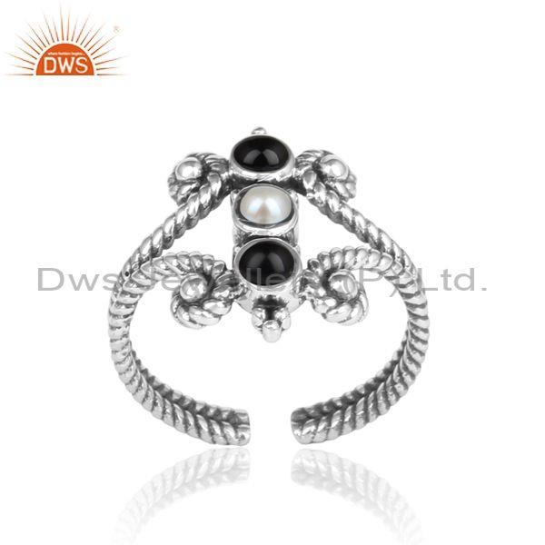 Handmade Textured Oxidized on Silver Pearl, Black Onyx Ring