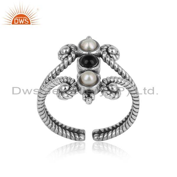 Handmade Textured Oxidized on Silver Black Onyx Pearl Ring