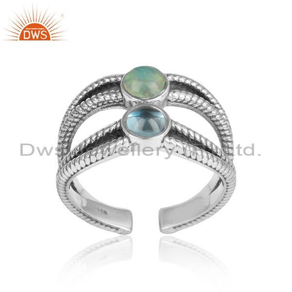 Blue Topaz & Ethiopian Opal Split Shank Adjustable Ring
