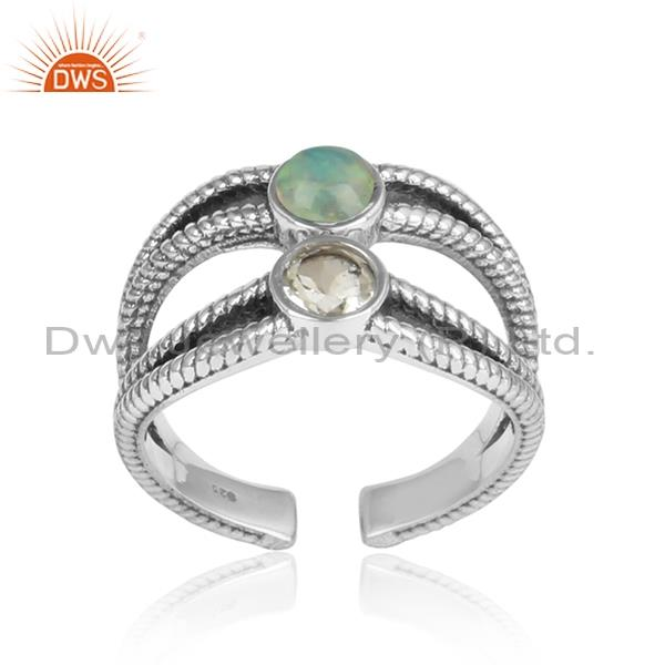 Green Amethyst & Ethiopian Opal Cabushion Silver Ring