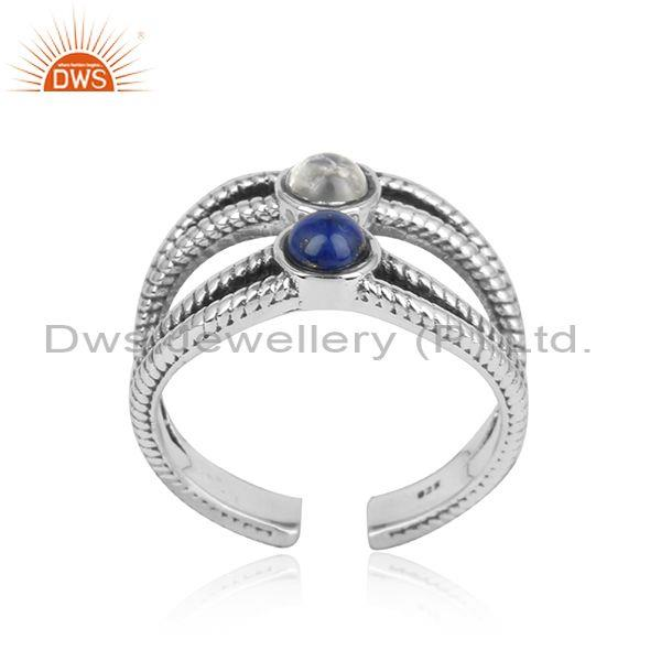 Designer Split Shank Oxidized Silver Ring with Lapis, Pearl