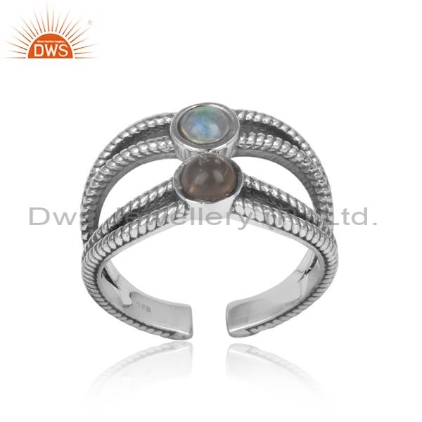 ETHIOPIAN OPAL and smoky split shank silver ring