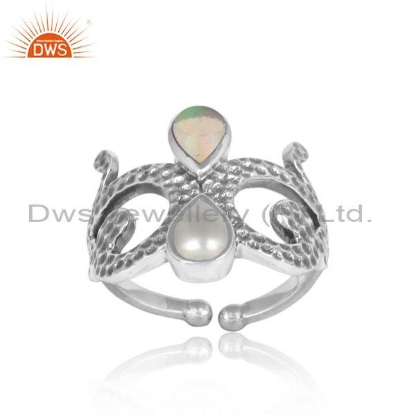 Designer Texture Oxidized Silver Ethiopian Opal Pearl Ring