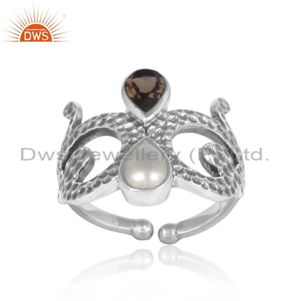 PEARL CABUSHION and smoky silver princess ring