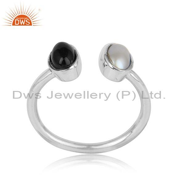 Handcrafted Adjustable Fine Silver Black Onyx Pearl Ring
