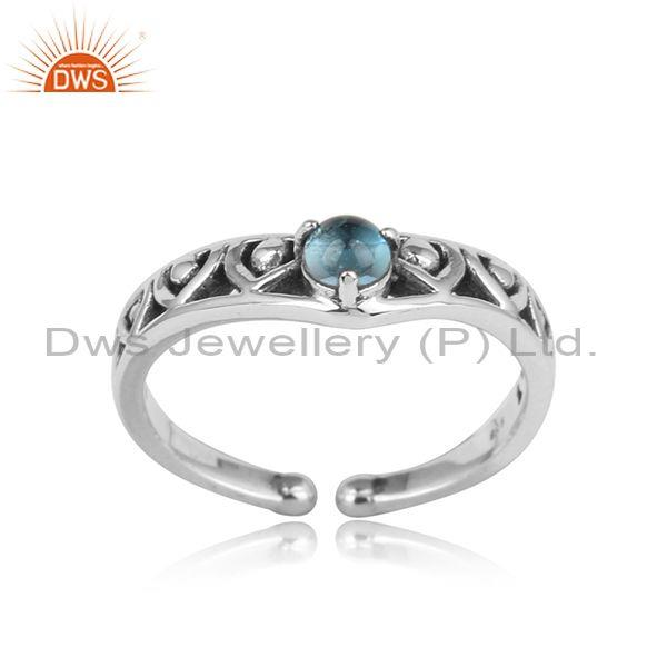 Textured Designer Oxidized on Silver Ring with Blue Topaz