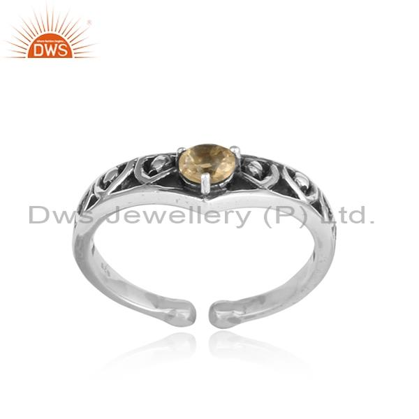 Citrine Set Adjustable Sterling Silver Ring