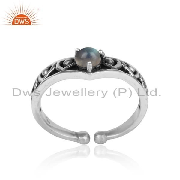 LABRADORITE CABUSHION sterling silver adjustable ring