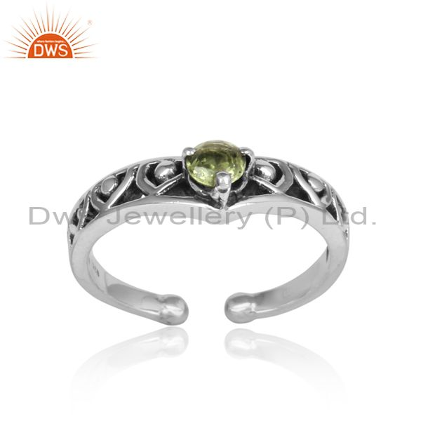 PERIDOT set sterling silver adjustable ring