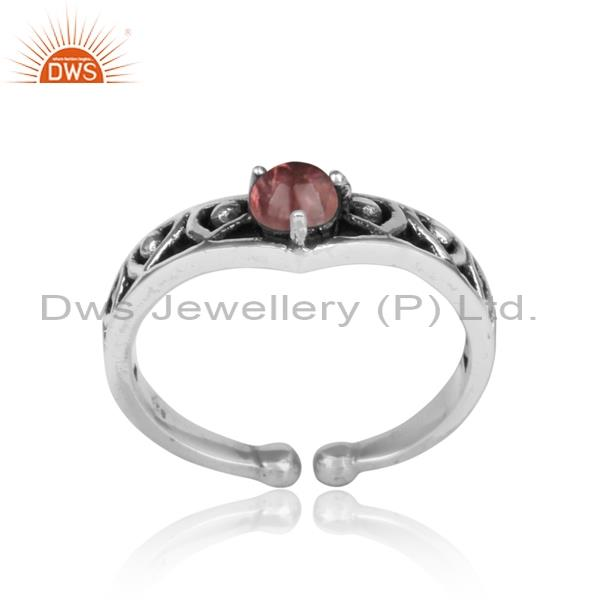PINK TOURMALINE set sterling silver oxidized ring all sizes