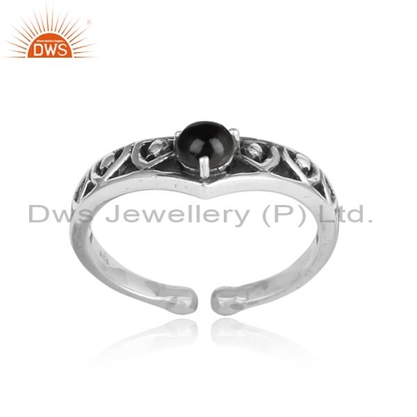 Black Onyx Set In 925 Oxidized Silver Rustic Ring