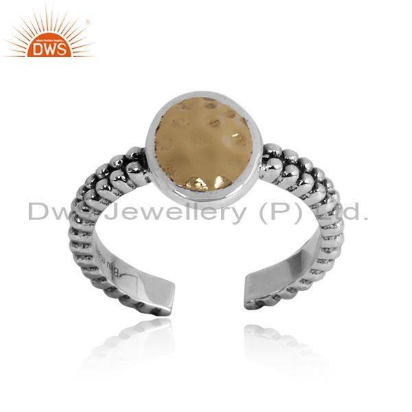 Handmade Sterling Silver Oxidized Ring Set With Oval Crystal