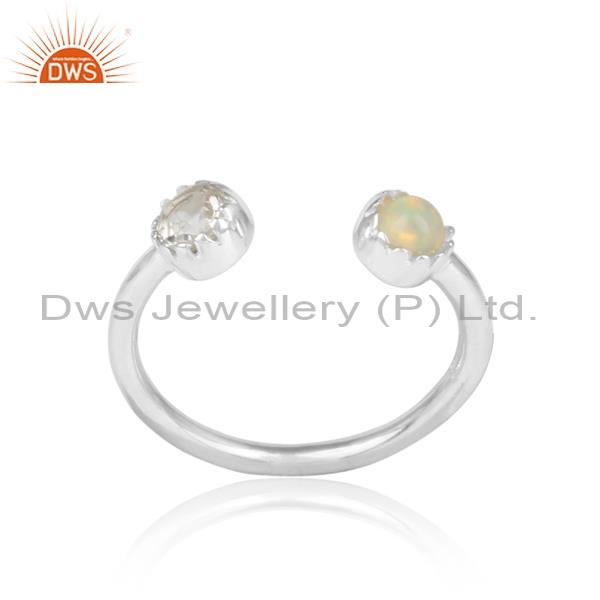 Ethiopian Opal & Crystal Quartz Sterling Silver Facing Ring
