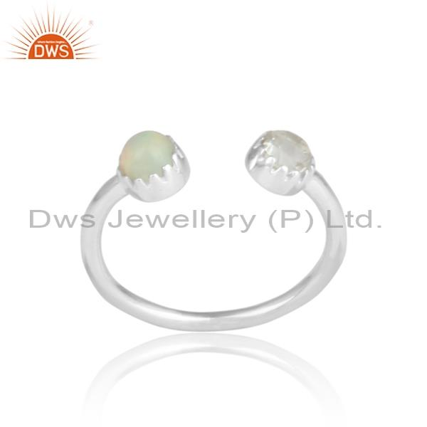 Ethiopian opal and green amethyst silver facing ring