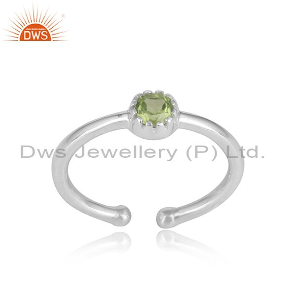 Handcrafted Dainty Silver 925 Ring with Peridot