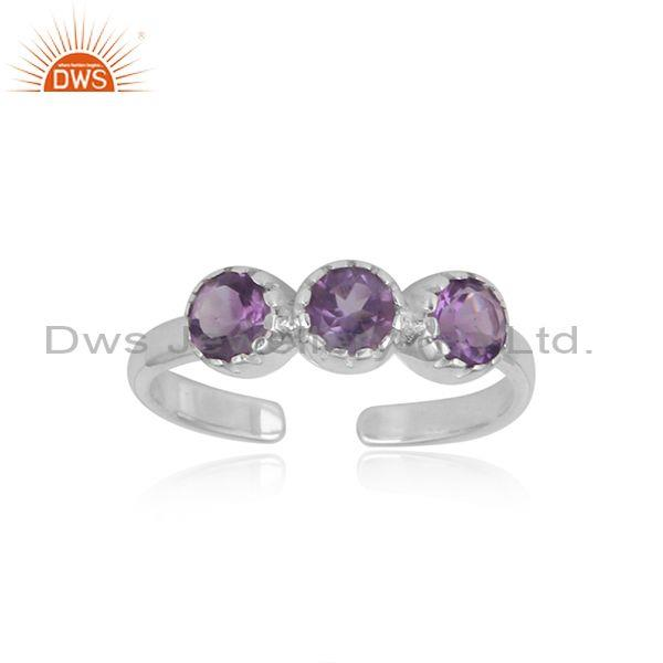 Designer Stackable 3 Stone Silver 925 Ring with Amethyst