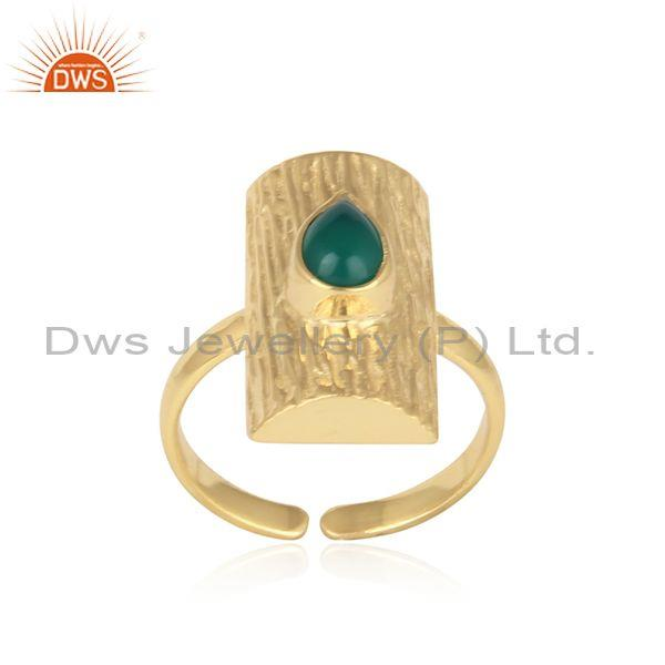 Handmade Tree Bark Textured Gold on Silver Green Onyx Ring