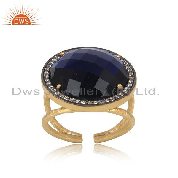 Textured bold gold on silver corundum blue cultured and cz ring