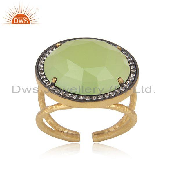 Bold Textured Gold On Silver Prehnite Chalcedony Cz Ring